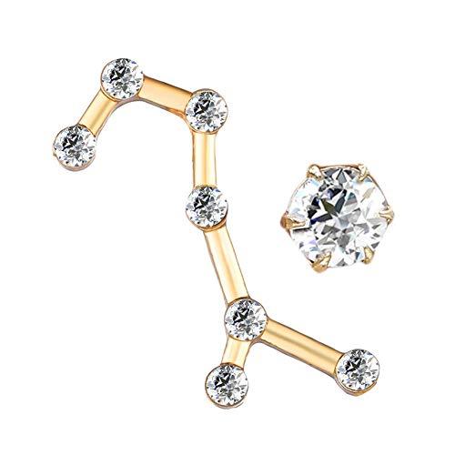 YUANMAO 12 pendientes de constelaciones para mujer, circonita cúbica, pendientes asimétricos, joyería de oro Escorpio