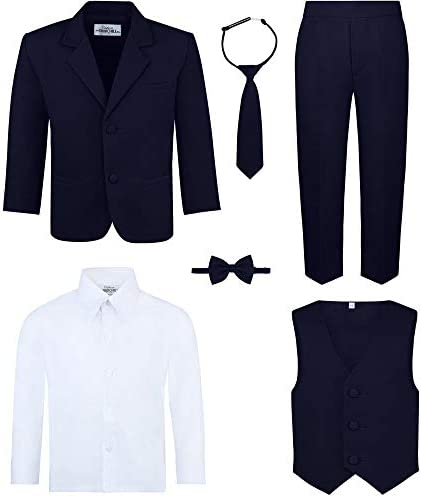 Boy s 6 Piece Suit Set Includes Suit Jacket Dress Pants Matching Vest White Dress Shirt Neck product image