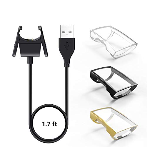 【1+3 Pack】 YiJYi Compatible with Fitbit Charge 3 Charger & Case Screen Protector,1 USB Replacement Charging Cable and 3 Full-Around Protective Cover Shell for Fitbit Charge 3 and Fitbit Charge 3 SE