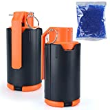 CS Hand Grenades Tactical Plastic Hand Water Bullet Bomb Modified Crystal Foam Balls BB Shower Rival Impact Refill Spring Powered Round ABS CS Airsoft Outdoor Games Toy Gifts (2pcs+10000 Water Beads)