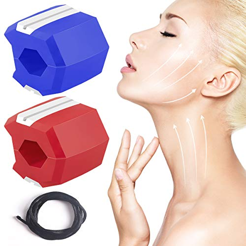 Jaw Exerciser 2 Pcs, Jawline Exerciser Slim and Tone Your Face, Look Younger and Healthier, Facial Exerciser Helps Reduce Stress and Cravings