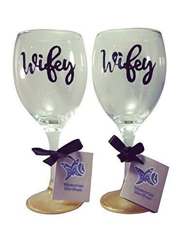 Wifey et Wifey Doré Base de verre à vin 340 ml Noir Script