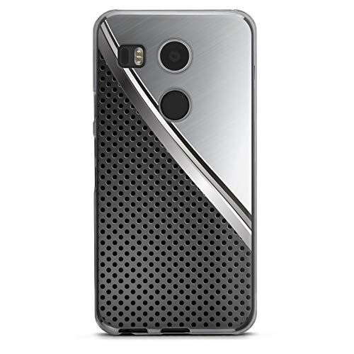 DeinDesign Hard Case kompatibel mit Google Nexus 5X Schutzhülle transparent Smartphone Backcover Carbon Metall Muster