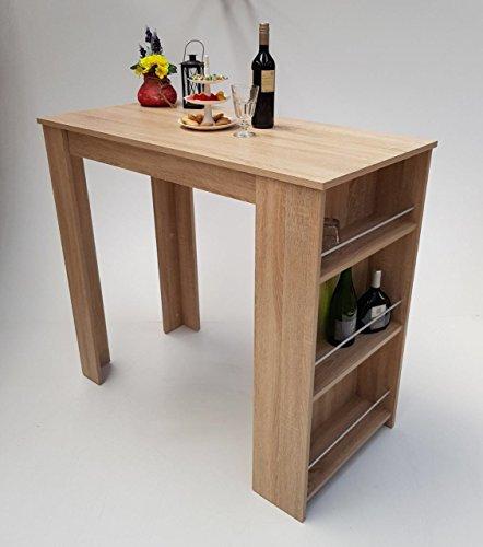 Möbel SD Bartisch Stehtisch Sonoma Eiche hell Sägerau 120 x 60 x 107 cm B x T x H