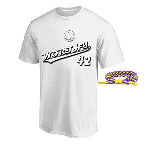 YUUY Camiseta de Baloncesto Hombres James Worthy # 42 Sports Retro Camiseta, Sudadera de Secado rápido, Regalo de cumpleaños para Hombre (Color : White, Size : Medium)