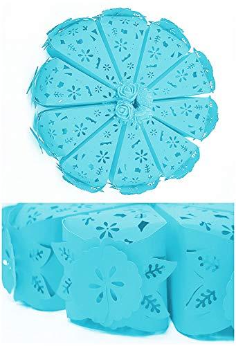 takestop® Bonbonnière, snoepjes, 10 stuks, taartstekers, taarten, blauw, bloemen, confect, bruiloft, doop, verjaardag, party