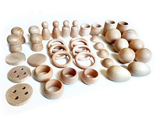 Juego de madera Montessori - Juego heurístico de 40 piezas - Cesto tesoros - anillas, bolas, semiesferas, morteros, huevos, cubiletes, servilleteros, setas, botones