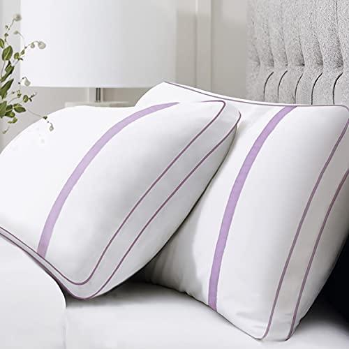 BedStory Almohada Antiácaros 42 x 70cm Almohada Fibra con Relleno 3D Fibra Mantiene la Forma Almohada 70 Pack 2 para Cama Almohadas para Hoteles【Nueva Versión】 Púrpura
