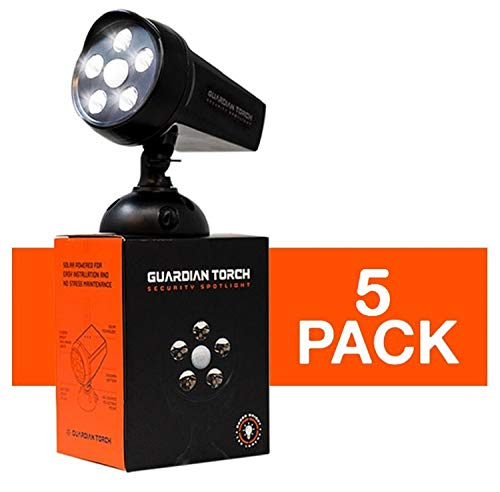 Guardian Torch - Home Security Spotlight (5 Pack) Solar Powered - 120° Motion Sensor - IP65 Water Resistant Outdoor Floodlight - 5 Bright LED Lights - Dusk to Dawn