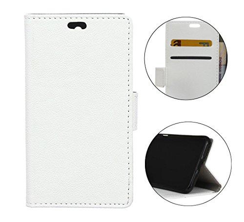 Sunrive Hülle Für BQ Aquaris V Plus/VS Plus, Magnetisch Schaltfläche Ledertasche Schutzhülle Etui Hülle Cover Handyhülle Taschen Schalen Handy Tasche Lederhülle(C weiß)+Gratis Universal Eingabestift