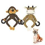 Hotype Juguete para Perro Juguetes Chirriantes, 2 Piezas Duraderos Juguetes de Peluche para Perros Pequeños, Masticar Juguete de Entrenamiento, para Perros de Raza Pequeña/Mediana - Mono y Vaca
