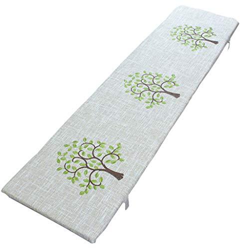 jHuanic - Cojín largo para banco de exterior con almohadillas de algodón suave y duradero, cojín para sofá de interior con lazos y cremallera para 2 o 3 plazas (30 x 100 x 3 cm)