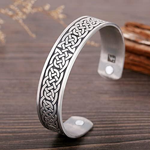 JINKEBIN Pulsera Skyrim Viking Talisman Health Bracelet Tree Of Life Luck Knot Runas Trinity Magnetic Cuff Brazaletes Mujer Hombres Pulsera ajustable (color metal: nudo irlandés)