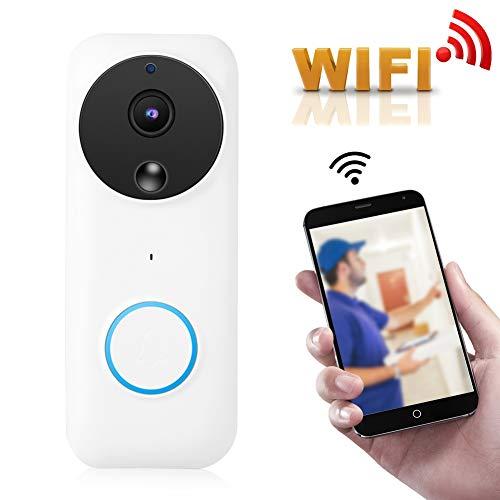 Wendry Draadloze video-deurbel, groothoeklens 166 °, HD 1080p-resolutie, iOS- en Android-compatibele toepassingen voor WiFi Wireless video deurbel PIR-sensor deur huisdeur IR-camera