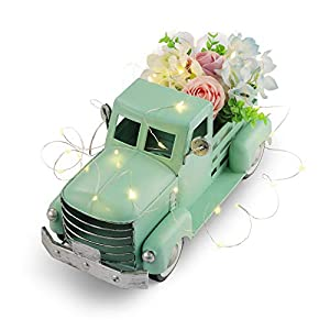 Farmhouse Truck with Silk Flowers & String Lights Decorations, Vintage Metal Truck Spring Decorations, Easter Truck Decoration, Decorative Truck Dining Table Centerpiece (Turquoise)