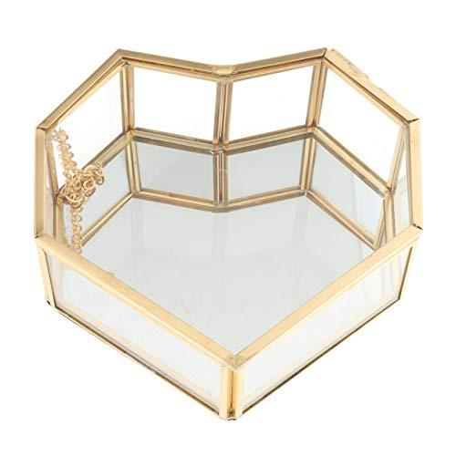 PETSOLA Decoración de Escritorio del Organizador de La Exhibición del Recuerdo de La Joyería de La Caja con Tapa de Cristal del Borde Dorado