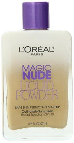 L'Oreal Paris Magic Nude Liquid Powder Bare Skin Perfecting Makeup SPF 18, Nude Beige, 0.91 Ounces