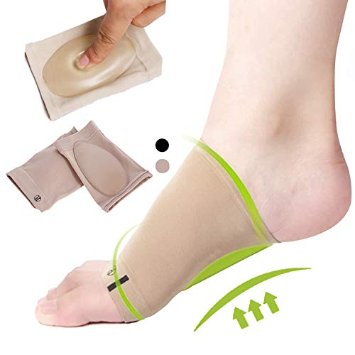 Arch Support Brace for Flat Feet with Gel Pad Inside 2Pairs Plantar Fasciitis Support Brace-Compression Arch Sleeves for Women & Men-Foot Pain Relief for Planter Fasciitis (4*Complexion)