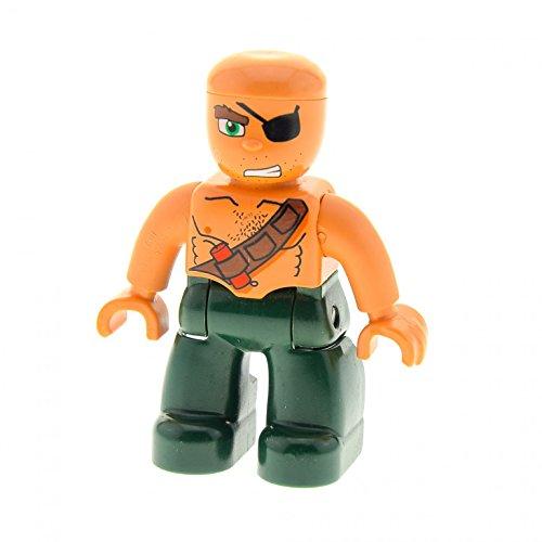 1 x Lego Duplo Figur Mann Pirat Hose dunkel grün Dynamit Gürtel Augenklappe Seemann Seeräuber Set 7880 7881 47394pb088