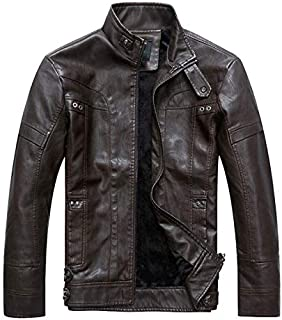 Retro Men Leather Collar Collar Jacket Leather Jacket
