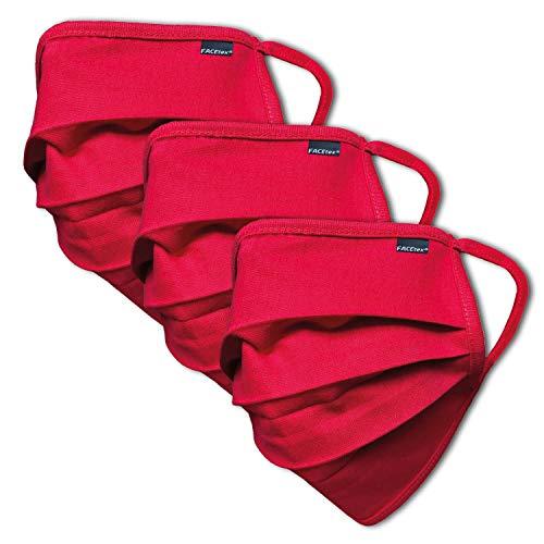 Facetex 3er Pack Abdeckung aus 100% Bio-Baumwolle | waschbar bis 90°C, bügelbar, Oeko-TEX 100 Standard | Einheitsgröße für Erwachsene | Wiederverwendbare Behelfs-Abdeckung für Mund Nase in rot