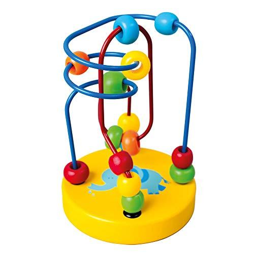 Bino- Labirinto con Perline, Giallo, Multicolore, 84208