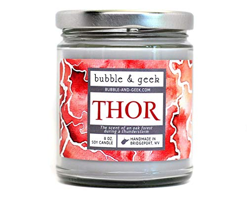 Bubble and Geek'Thor' Scented Soy Candle, Norse Mythology, oak forest, thunderstorm, 8 oz Jar, Handmade in the USA