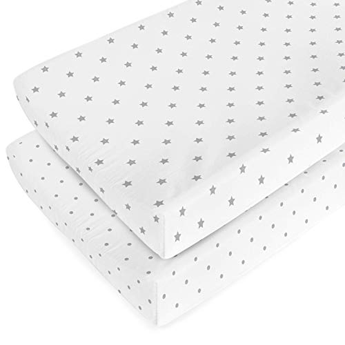 Organic Changing Pad Cover Set - 100% Organic Jersey Cotton - 2 Pack Unisex Design Gray and White - Best Baby Shower Gift Perfect for Bassinet Sheets for Boy or Girl 16X32 - Stars and Dots