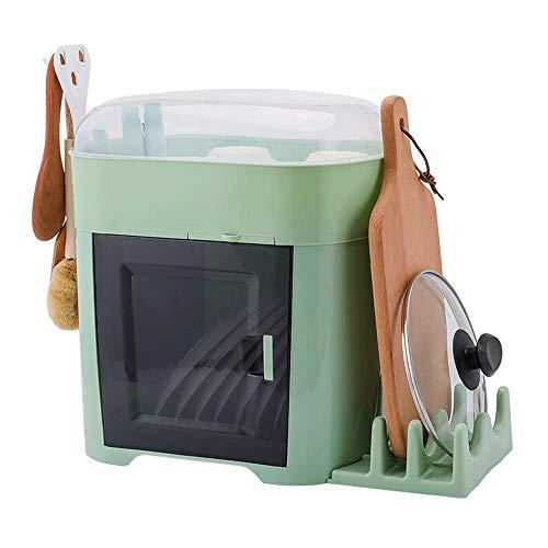 LILINPINGWDJ Estantería de Cocina Caja de Almacenamiento de vajilla Estante de Drenaje 2 Capas con Tapa plástico Escurreplatos