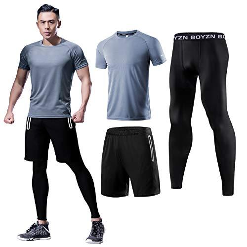 メンズ コンプレッションウェア 3点セット 上下セット 吸汗 速乾 スポーツウェア 通気 防臭 トレーニングウェア ランニングウェア 半袖シャツ ハーフパンツ タイツ グレー 3個セット 3P-Gray-2XL