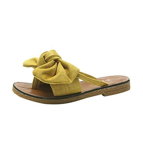 UXITX flip flop Vrouwen Mode Effen Kleur Strik Platte hak Sandalen Slipper Peep teen Thuis Slippers Outdoor Party Beach Schoenen