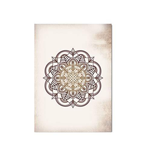 Z.L.FFLZ Tibetisch Wandkunst druckt braune Schlafzimmer Wanddekor Mandala braune Leinwand Malerei Wandbilder Wohnzimmer Wohnkultur Kein Rahmen Artwork (Color : KSMSC, Size (Inch) : 20x25cm No Frame)