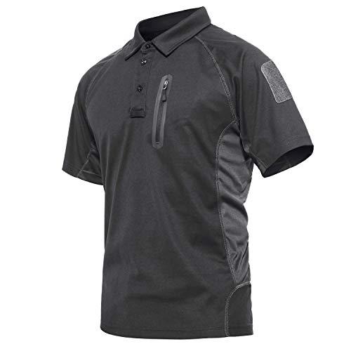 KEFITEVD Tactical Poloshirt Herren Performance Sommer Kurzarm Army Shirt mit Zip-Taschen Männer Outdoor Airsoft Paintball Combat T-Shirt Dunkelgrau 2XL