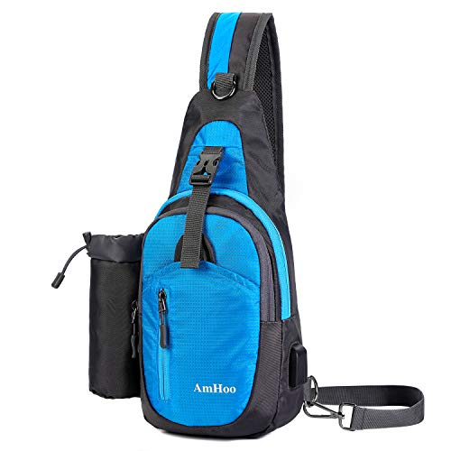 AmHoo Sling Backpack Chest Shoudler Crossbody Bag Waterproof Hiking Daypack Small Blue