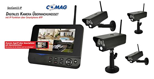 COMAG Digitales Kamera Funk-Überwachungs-Set Überwachungskamera Videoüberwachung mit IP Funktion über Smartphone App (inkl. 7 Zoll TFT Monitor + 4 Stk. Kameras, kabellos, Nachtsicht (Infrarotkamera), bis zu 300 m, Aufnahmefunktion, SD-Kartenslot 32GB, USB 2.0 für externe Festplatte bis 1TB)