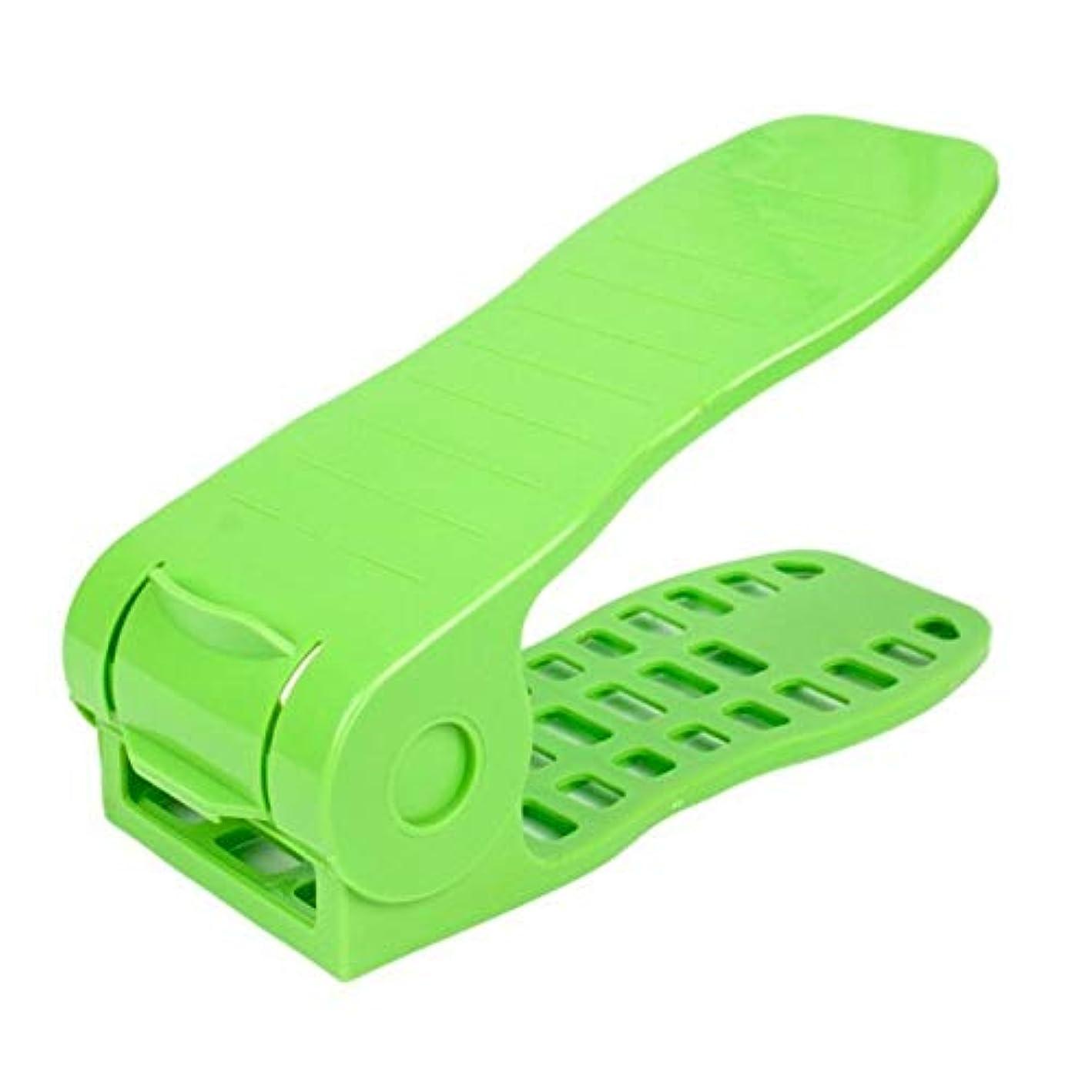 MOPOLIS 4 Level Adjustable Shoes Slots Organizer Dual-Layer Space Saver Shoe Rack Holder (Colors - Green)