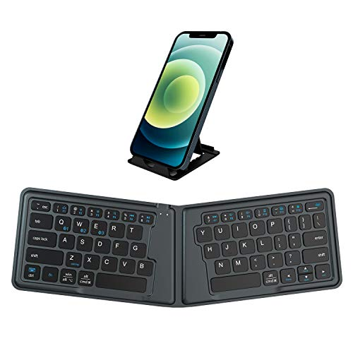 Multi-device Bluetooth keyboard - Samsers Portable Rechargeable Wireless Keyboard with Stand Holder, Ultra Slim Ergonomic Folding Keyboard BT 5.1 for OS iOS Android Windows Cellphone Tablet Laptop Mac