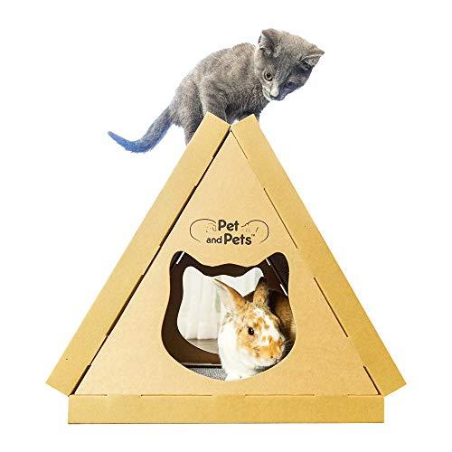 PetandPets ティッピーピーク [ 猫 おもちゃ/猫 つめとぎ 3個付き / うさぎ 小動物 対応/高圧縮紙で頑丈/米ブランド ] キャットハウス キャットタワー ミニ 猫のおもちゃ 猫おもちゃ トンネル ねこ おもちゃ 猫 ベッド ダンボール 爪