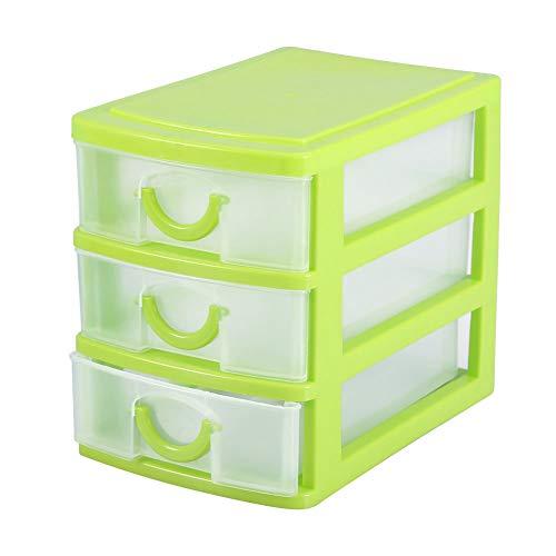 TMISHION Organizador de cajones Caja de Almacenamiento de Maquillaje de Joyas Caja de plástico para contenedores Caja de plástico(3 Layers of Green)