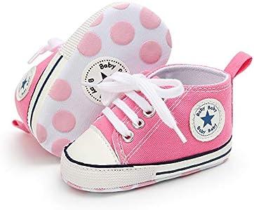 Babycute - Zapatillas de lona para bebé con suela suave y cordones, informales, para niños y niñas, primeros pasos, color Beige, talla 0-6 meses