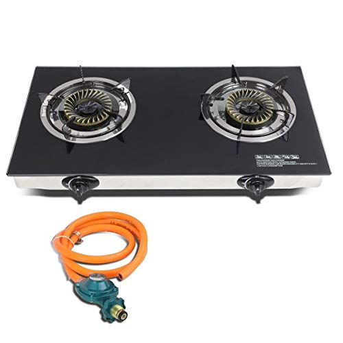 Best Prices! GraceShop Forest, Camping Modern Double Glass Top Portable Propane Gas Stove Burner wit...