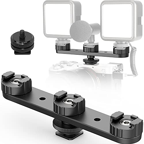 Camera Cold Shoe Extension Mount, PT-23 Triple Hot Shoe DSLR Plate Microphone LED Video Light Stand Gimbals Extendable Bar Vlog Accessories Kits for Gopro iPhone Sony Canon