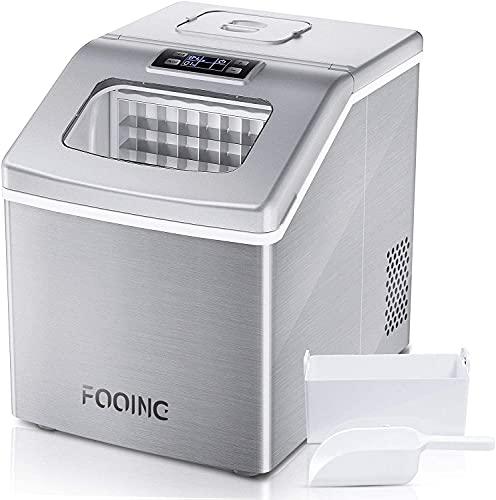 Máquina para hacer cubitos de hielo FOOING cuadrada, superficie de trabajo lista en 13 minutos, 24 grandes helados con pala para hielo y cesta, pantalla LED, para casa, bar, cocina, oficina