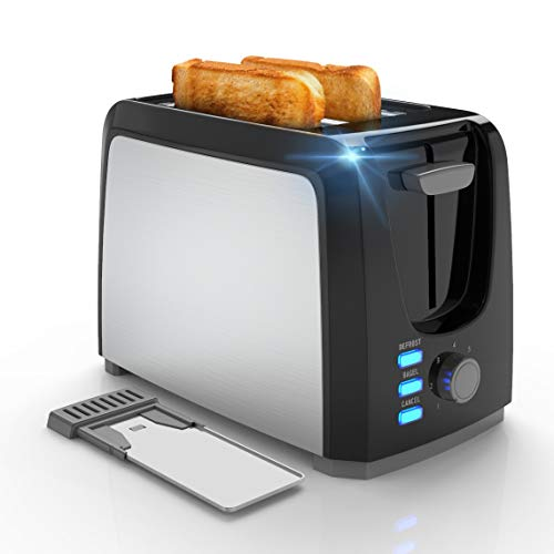 Toaster 2 Slice Best Prime Toasters Stainless Steel Black Bagel Toaster Evenly and Quickly with 2 Wide Slots 7 Shade Settings and Removable Crumb Tray for Bread Waffles