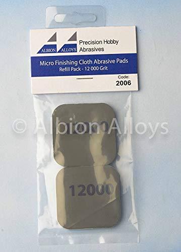 Albion Alloys - Almohadillas abrasivas para microacabados, Grano 12000# 2006 (Dos Almohadillas de 2 x 2 cm)