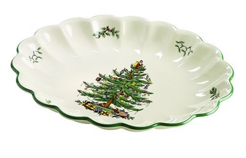 Spode Christmas Tree Oval Fluted Dish
