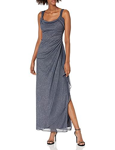 Alex Evenings Women's Long Cold Shoulder Dress Regular Sizes, Smoke Glitter, 10 Petite