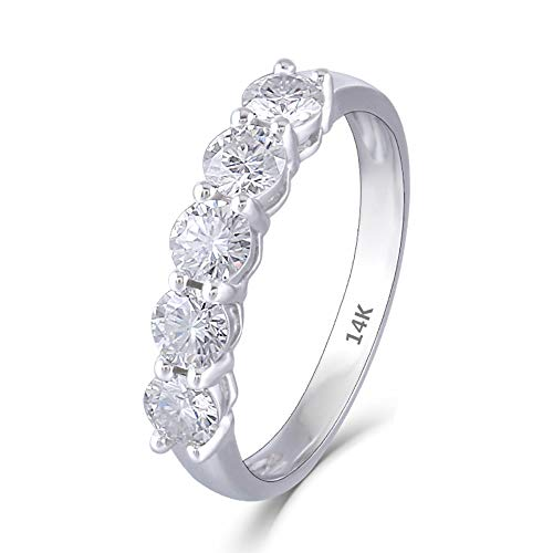 DovEggs 14K White Gold 1.25CTW 4mm F Color Clear Moissanite Engagement Ring Half Eternity Anniversary Wedding Band for Women (8.5)