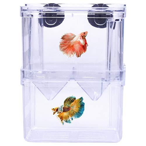 Netspower de Doble Capa de desove del Acuario desove Bandeja, plástico Transparente Cultivo de Peces Aislamiento Tanque de cría Caja de cría con 2 ventosas para Peces - 8 * 7 * 11 cm