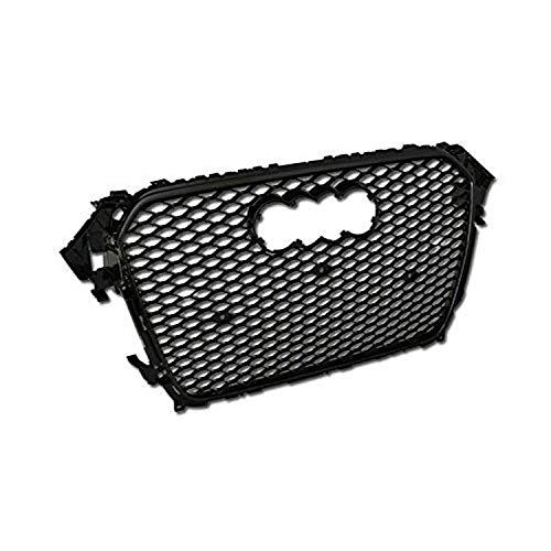 R&L Racing Front Grille Compatible with A4 / S4 B8.5 Facelift Models 13-15 | Black Finished Euro Sport Honeycomb Mesh Style Hood Bumper Grill Guard